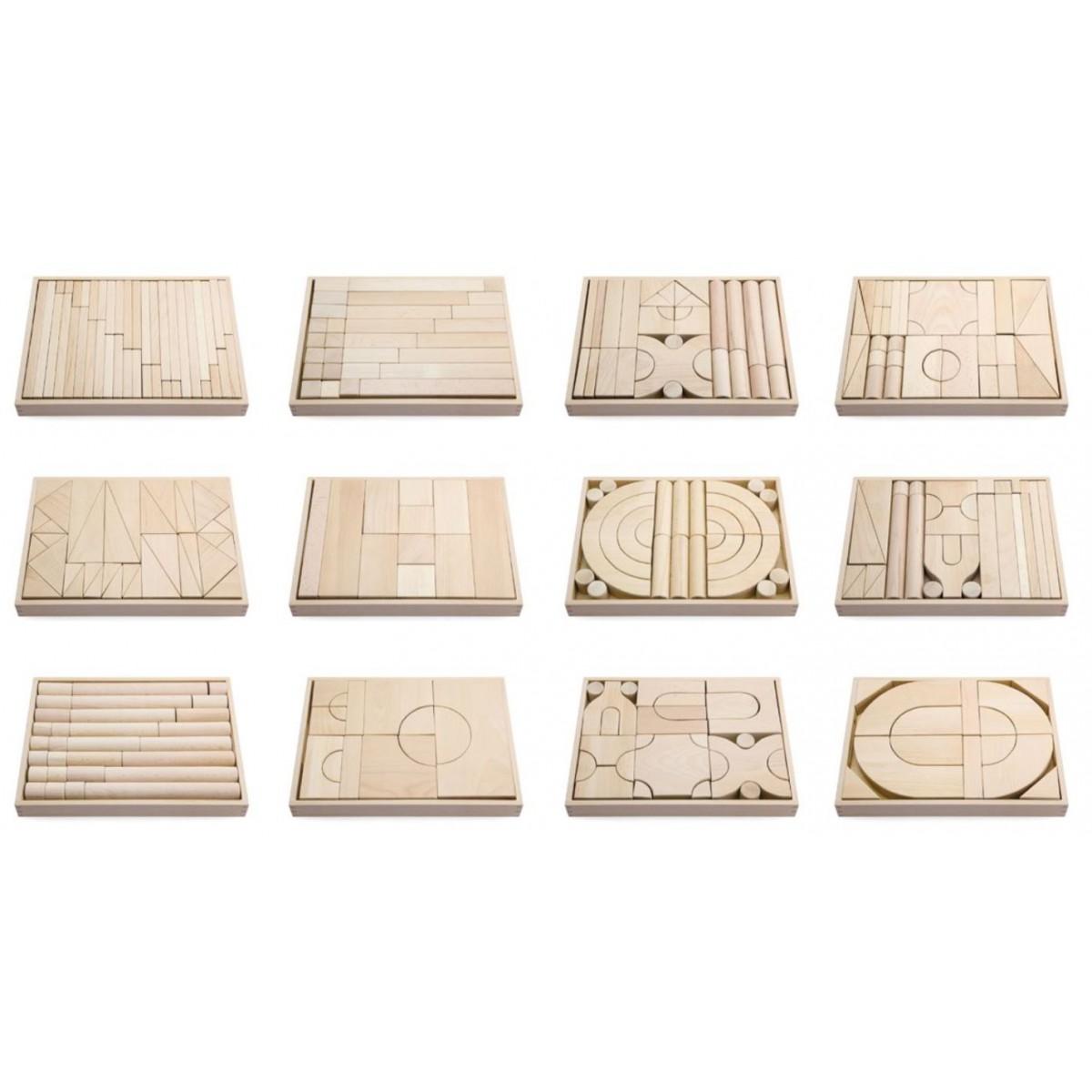 مكعبات خشبية 317 قطعة مع 12 صندوق
