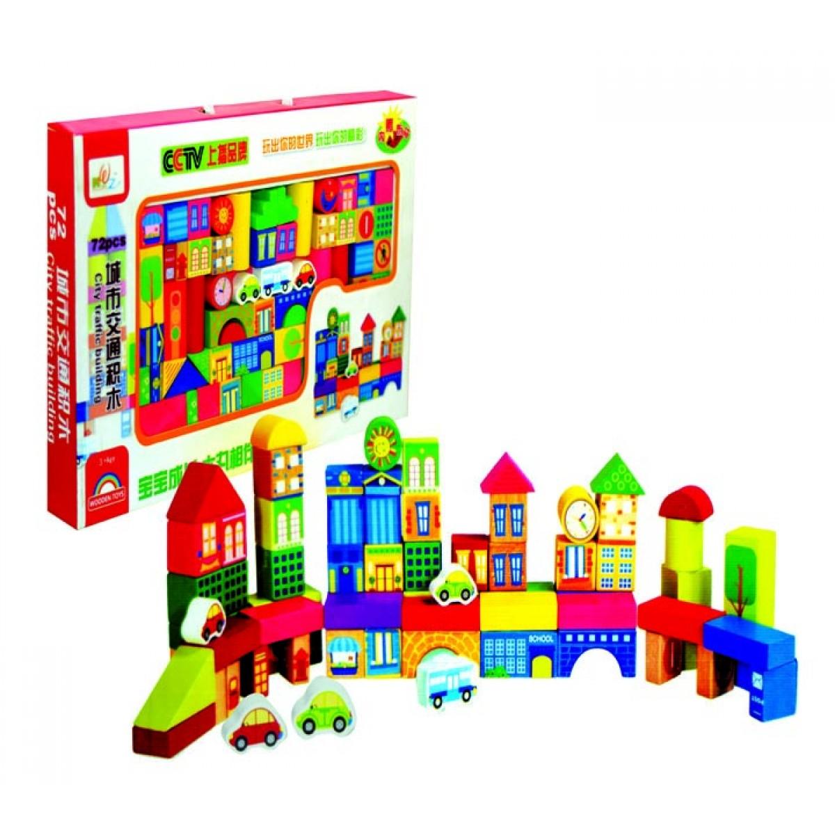 72 قطعة مكعبات خشبية ملونة