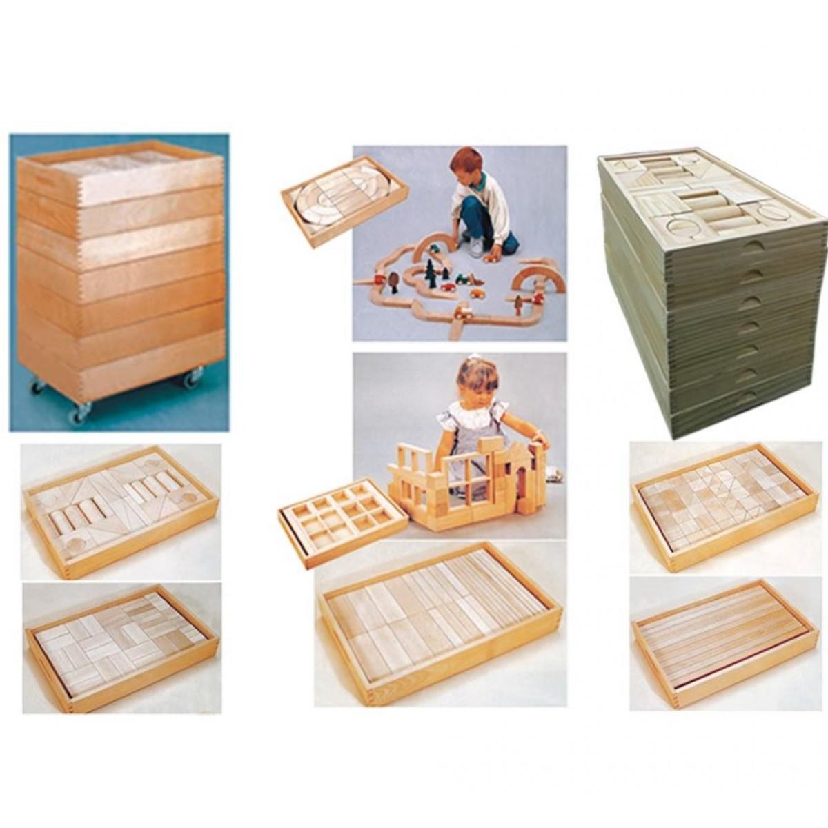 مكعبات خشبية 317 قطعة مع 7 صندوق