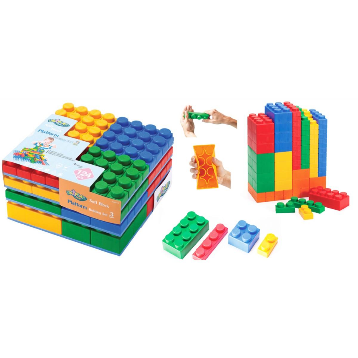 طقم مكعبات مع قواعد،عدد 124 مكعب باحجام مختلفة +4 قواعد