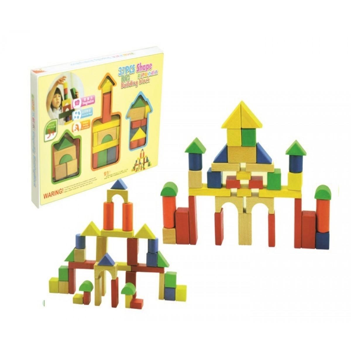 37 قطعة مكعبات خشبية صغير ملونة