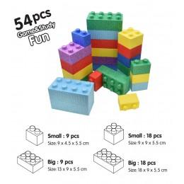 مكعبات فلين مقوى  54 قطعة باربعة احجام غير قابل للكسر