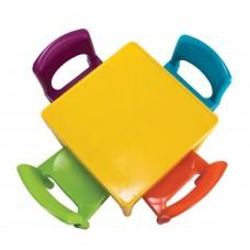 طاولة و أربعة كراسي ملونة