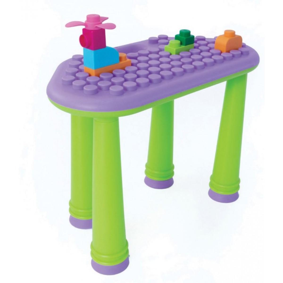 طاولة الأنشطة وتركيب المكعبات 25 قطعة - موف