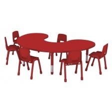 طاولة هلالية متعددة المستويات خشب180*120*37-62 سم - بدون الكراسي