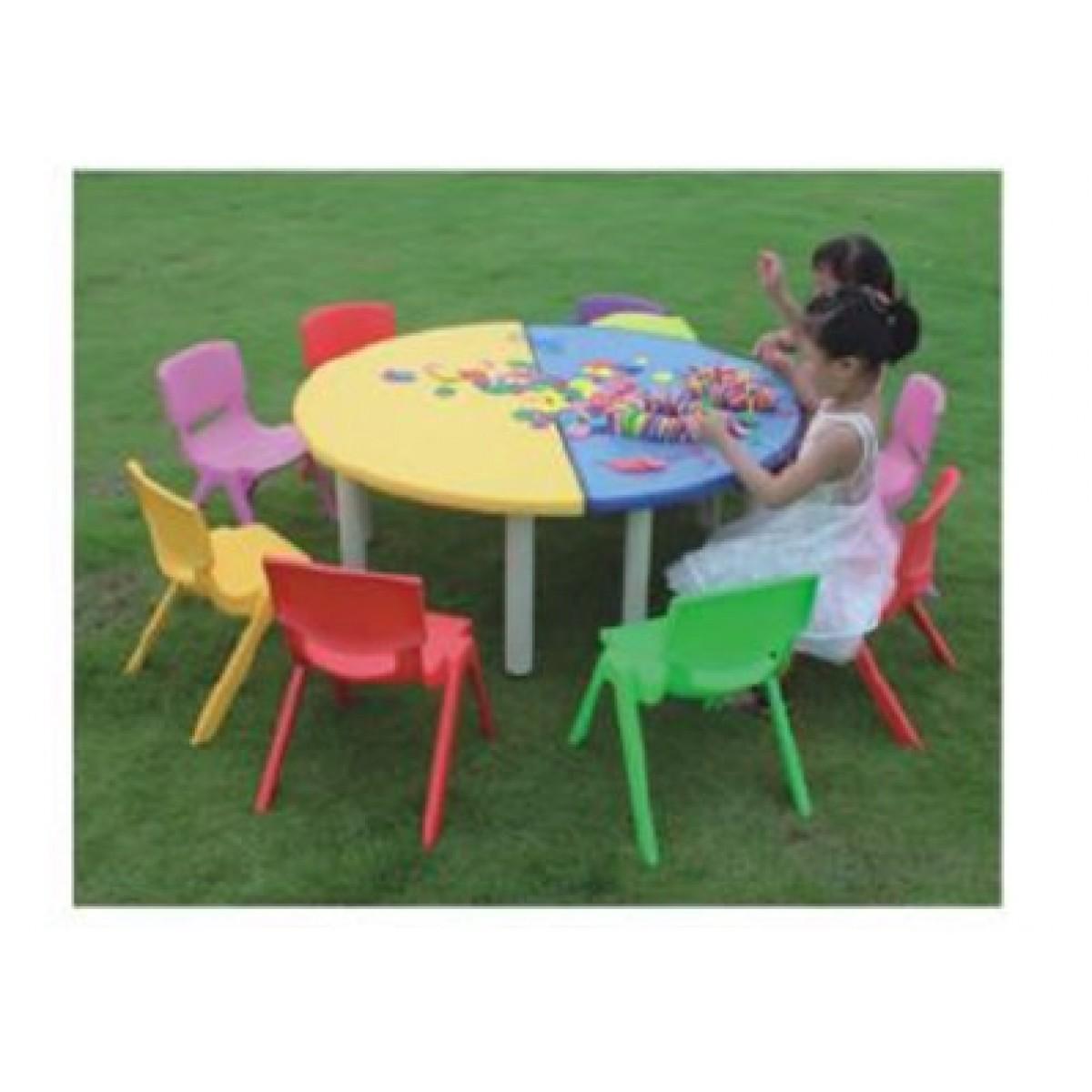 طاولات بلاستيك نصف دائرة ، الصورة لعدد 2 طاولة