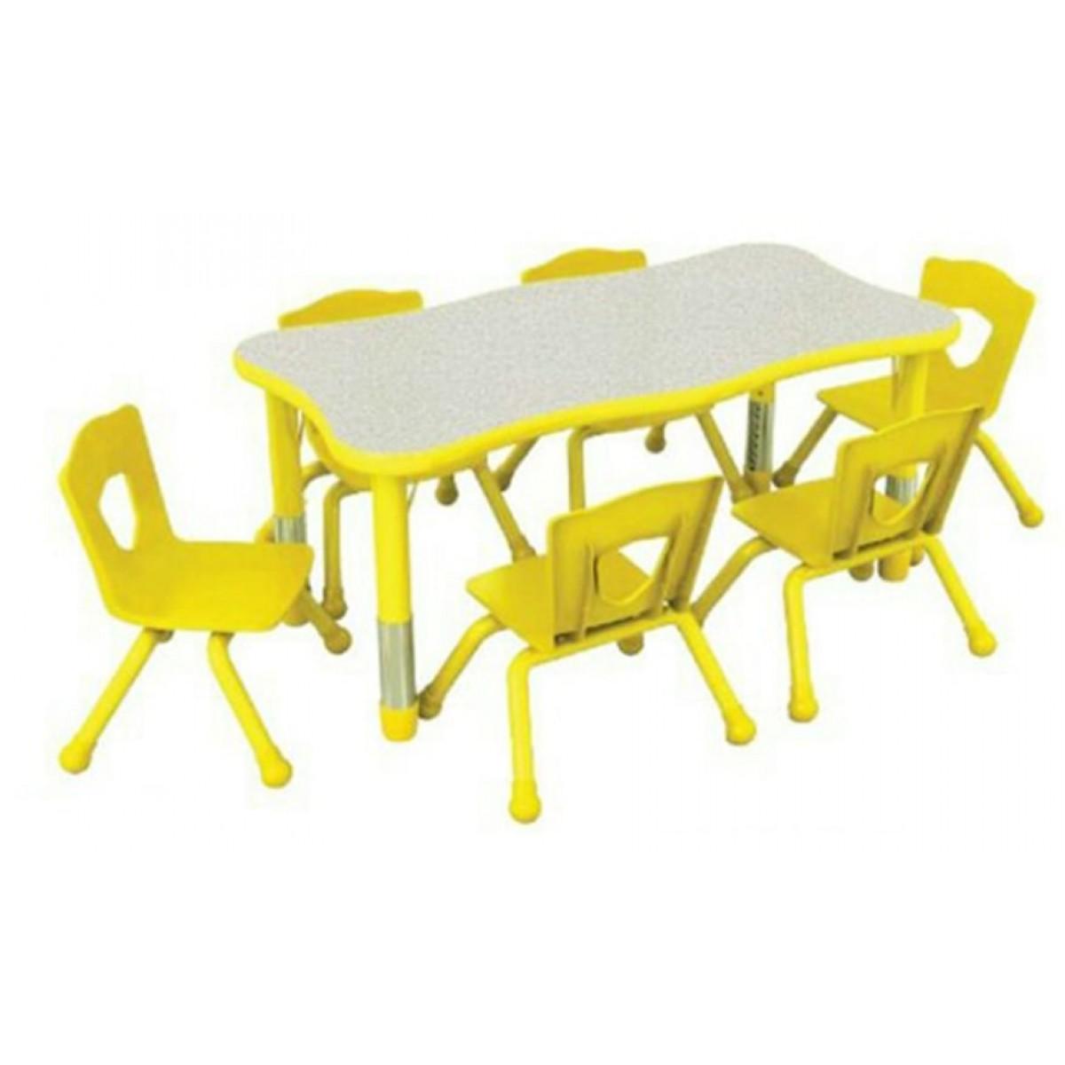 طاولة مستطيلة مموجة متعددة المستويات  120*60*56-76 سم