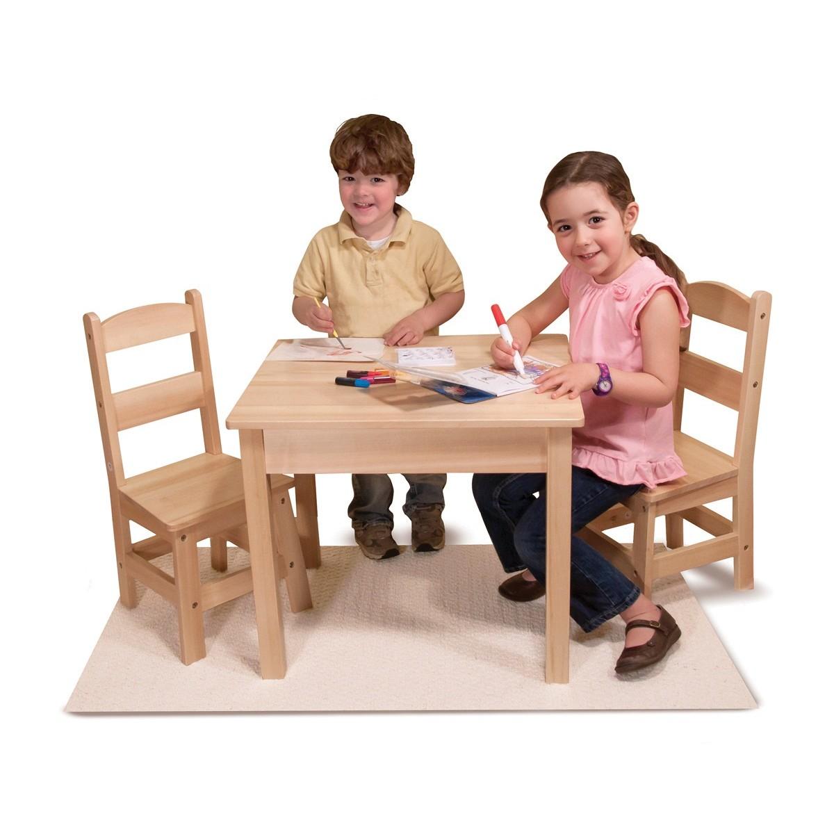 طقم طاولة و 2 كرسي خشب طبيعي
